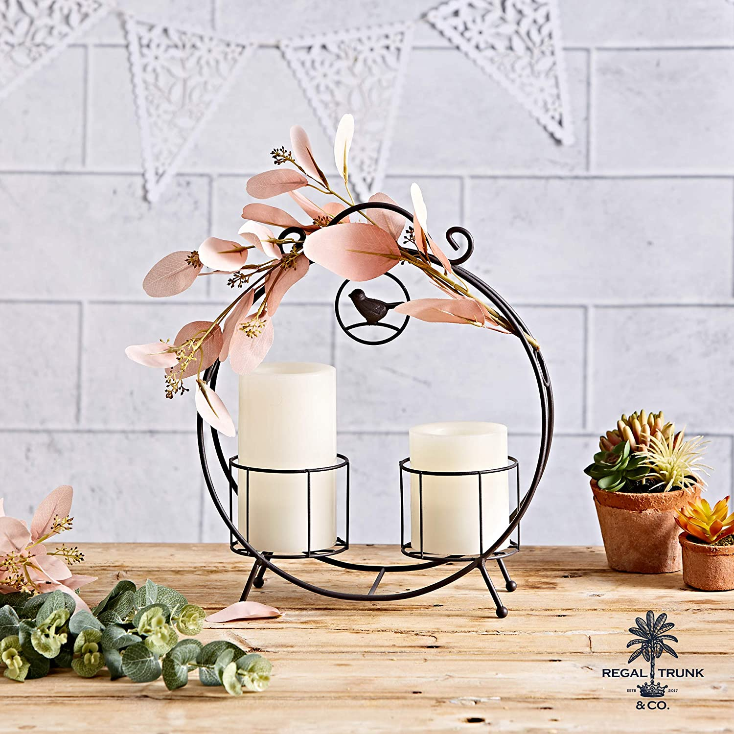 2 Pot Plant Stand and Pillar Candle Holder